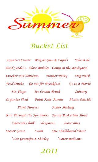 2011 summer bucket list